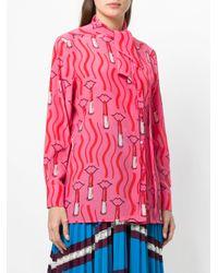 Valentino - Pink Lipstick-print Blouse - Lyst