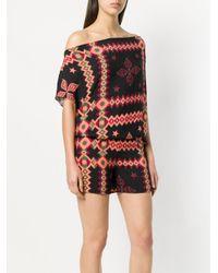 Fisico Black Printed Off Shoulder Jumpsuit