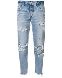 Moussy Blue Distressed Straight Jeans