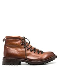 Officine Creative Brown Exeter Burnished Leather Hiking Boots for men