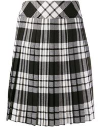 Pringle of Scotland Black Plated Tartan Midi Skirt