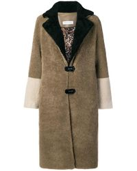 Saks Potts Brown Fur Colour Block Coat