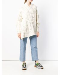 Stella McCartney White Cable-knit Oversized Sweater