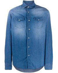 メンズ Dell'Oglio ロングスリーブ デニムシャツ Blue