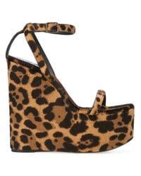 Saint Laurent Brown Frida Wedge Sandals