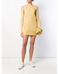 Pleats Please Issey Miyake カットアウト ミニドレス Yellow