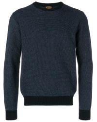 Tod's - Blue Contrast-trim Textured Jumper for Men - Lyst