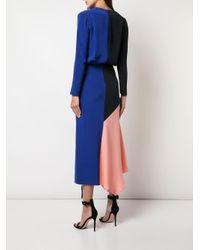 Robe mi-longue à empiècements contrastants Cushnie en coloris Blue