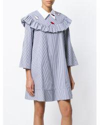 Vivetta Blue Orsa Maggiore Striped Poplin Dress