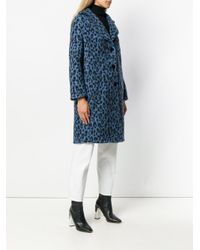 Ermanno Scervino Blue Leopard Print Coat