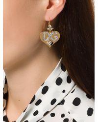 Dolce & Gabbana Metallic Logo Heart Earrings