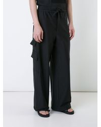 Consistence Black Striped Cargo Trousers for men