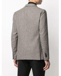 メンズ Tagliatore ハウンドトゥース シングルジャケット Gray