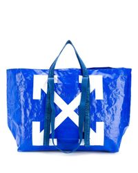 Off-White c/o Virgil Abloh Blue Arrows Print Oversized Tote