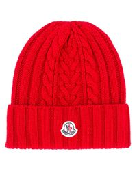 Moncler ロゴパッチ ビーニー Red