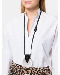 Monies - Black Interlocking Hoops Necklace - Lyst