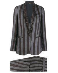 Brunello Cucinelli Black Striped Trouser Suit