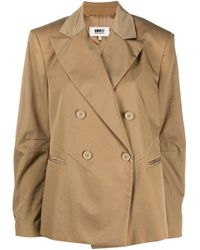 Blazer doppiopetto crop di MM6 by Maison Martin Margiela in Multicolor