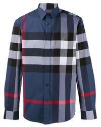 Burberry Geruit Overhemd in het Blue voor heren