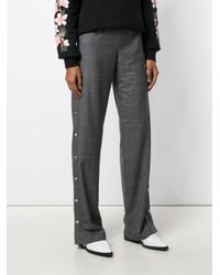 M I S B H V | Gray Checked Wide-leg Trousers | Lyst