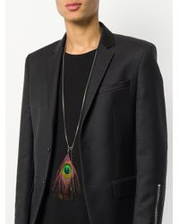 Collar con detalle de plumas de pavo real Ann Demeulemeester de hombre de color Multicolor