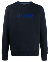 """PS by Paul Smith Sweatshirt mit """"Good""""-Print in Blue für Herren"""