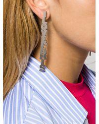 Balenciaga Metallic Logo Lettering Drop Earrings