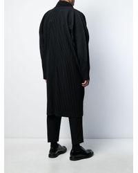 メンズ Homme Plissé Issey Miyake Deconstructed Pleated Coat Black