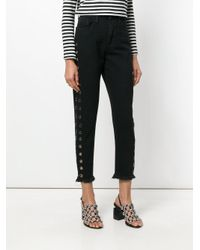 One Teaspoon Black Side Eyelet Detail Jeans