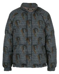 Undercover Blue Polyester Down Jacket for men