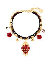 Dolce & Gabbana Black Sacred Heart Choker Necklace