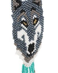 Jessie Western Blue Beaded Wolf Face Necklace