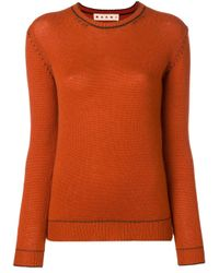 Marni Orange Contrast Stitch Jumper