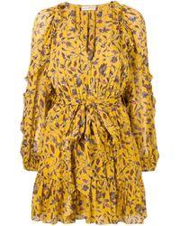 Ulla Johnson Yellow Maita Silk-blend Chiffon Mini Dress