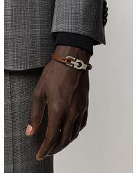 Узкий Браслет С Декором Gancini Ferragamo для него, цвет: Brown