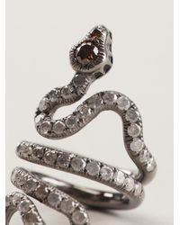 Loree Rodkin Black Gold And Diamond Pavé Coiled Snake Pinky Ring