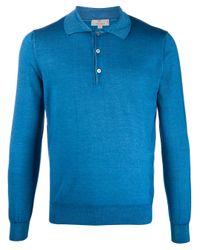 メンズ Canali ロングスリーブ ポロシャツ Blue