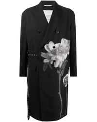 Valentino Black Floral-print Double-breasted Coat for men