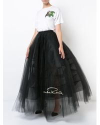 Oscar de la Renta Black Logo Embroidered Tulle Petticoat