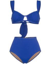 Three Graces London Blue Bridget Gathered Bikini
