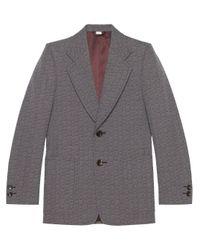 Chaqueta lana efecto grisalla con G hexagonal Gucci de hombre de color Gray