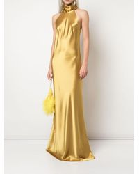 Robe longue texturée à dos nu Galvan en coloris Yellow
