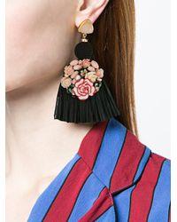 Lizzie Fortunato - Black Dolce Vita Fringed Earrings - Lyst