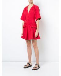 Carven Red Stitch And Pocket Detailed Mini Dress
