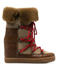 Isabel Marant Brown Shearling Lace-up Boots