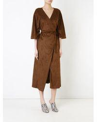 N-Duo - Brown Wrap Dress - Lyst