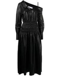 Robe mi-longue à épaules dénudées Self-Portrait en coloris Black