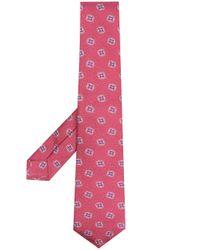Kiton Pink Geometric Print Tie for men