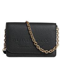 Burberry - Black Logo Embossed Chain Wallet - Lyst