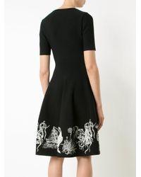 Alexander McQueen - Black Embroidered Flared Dress - Lyst